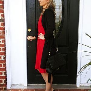 H & M black double brested long belted blazer